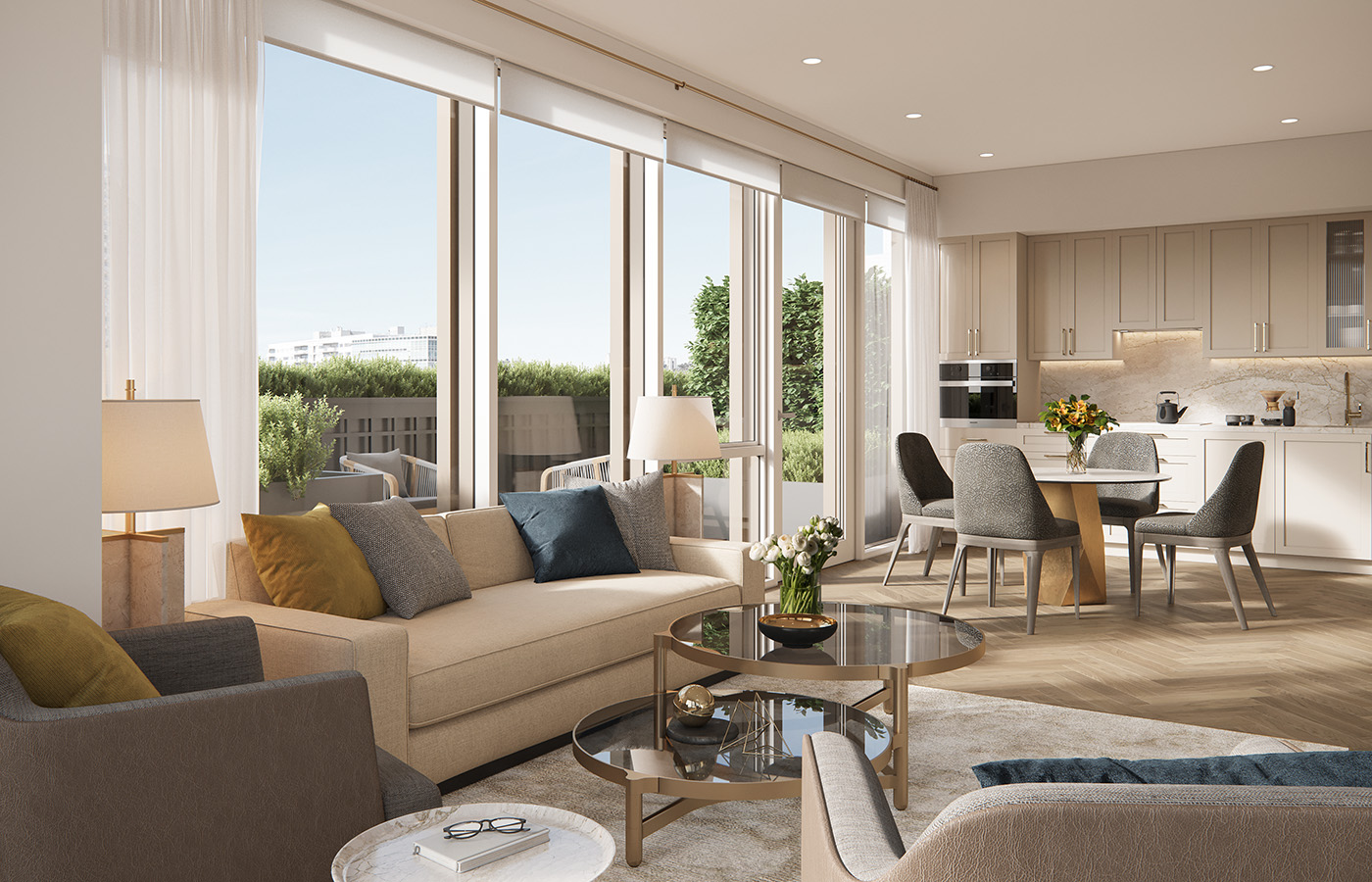 The sun-flooded living room and kitchen provide ample room for entertaining friends and family.