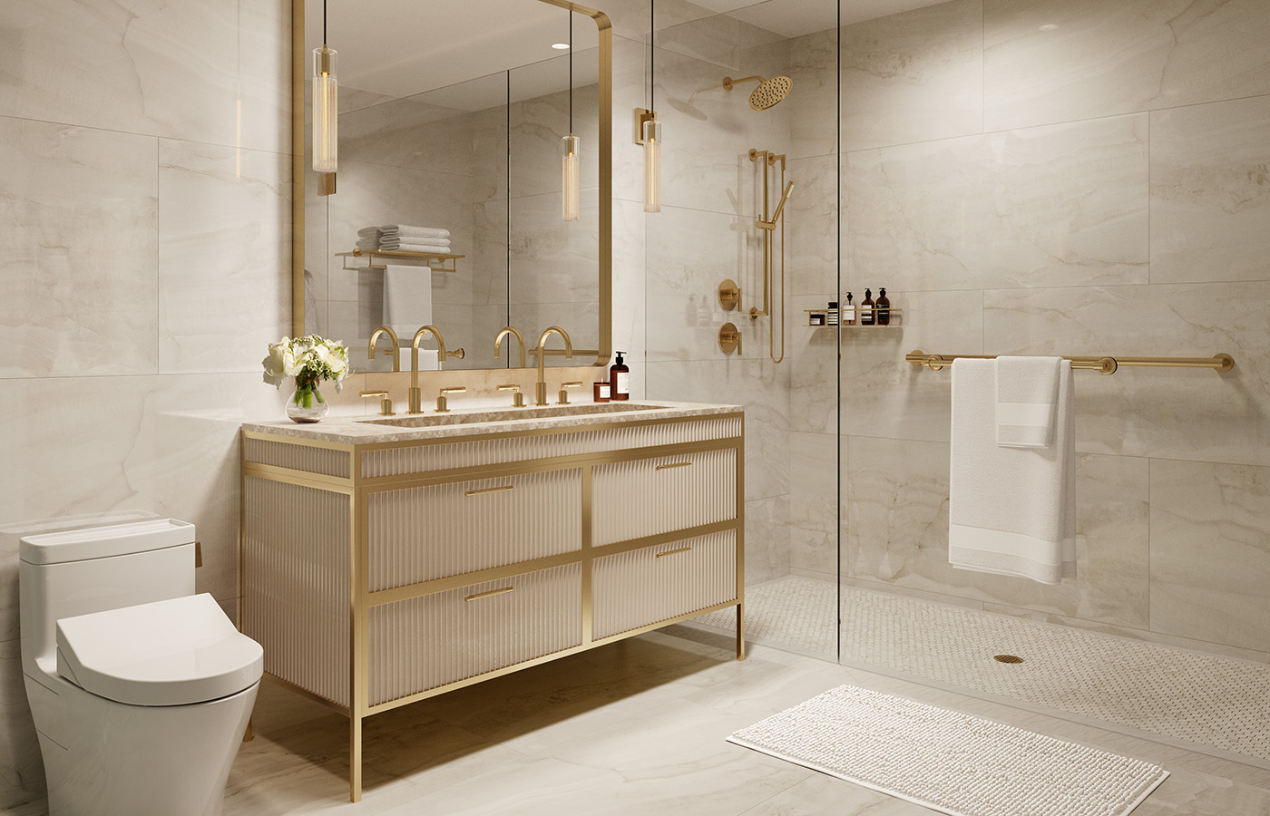 The bathroom features custom-designed vanity with Botticino marble counters and custom Symmons brass fixtures. The base is removable for wheelchair access.